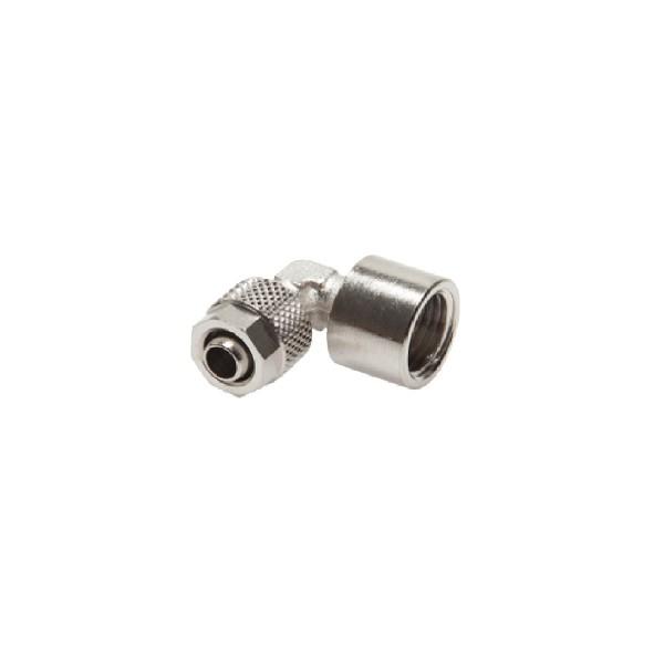"""Winkel-Verschraubung G 1/4""""-8 x 6mm, Messing vernickelt"""