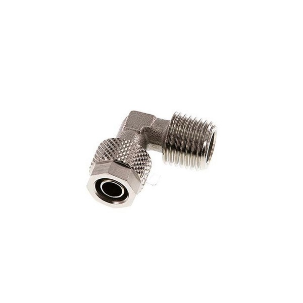 "Winkel-Verschraubung R 1/4""-8 x 6mm, Messing vernickelt"